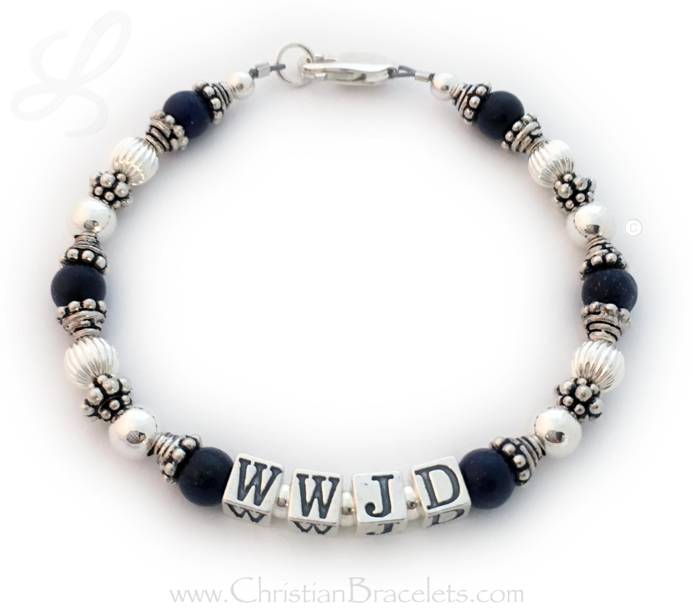 CB-WWJD-7  Lapis Lazuli What Would Jesus Do Bracelet - Shown with a lobster claw clasp, 5.5mm block letters. Size: 7 1/2""