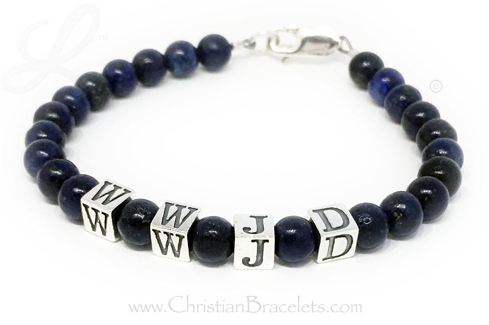 CB-WWJD-2 Lapis Lazuli WWJD or What Would Jesus Do Bracelet with a Sterling Silver Lobster Claw Clasp.