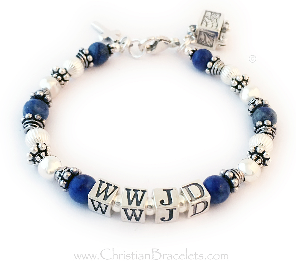 Lapis Lazuli What Would Jesus Do Bracelet - Shown with a lobster claw clasp, 5.5mm block letters. They added 2 charms to their order: Prayer Box Charm and a Simple Cross Charm.