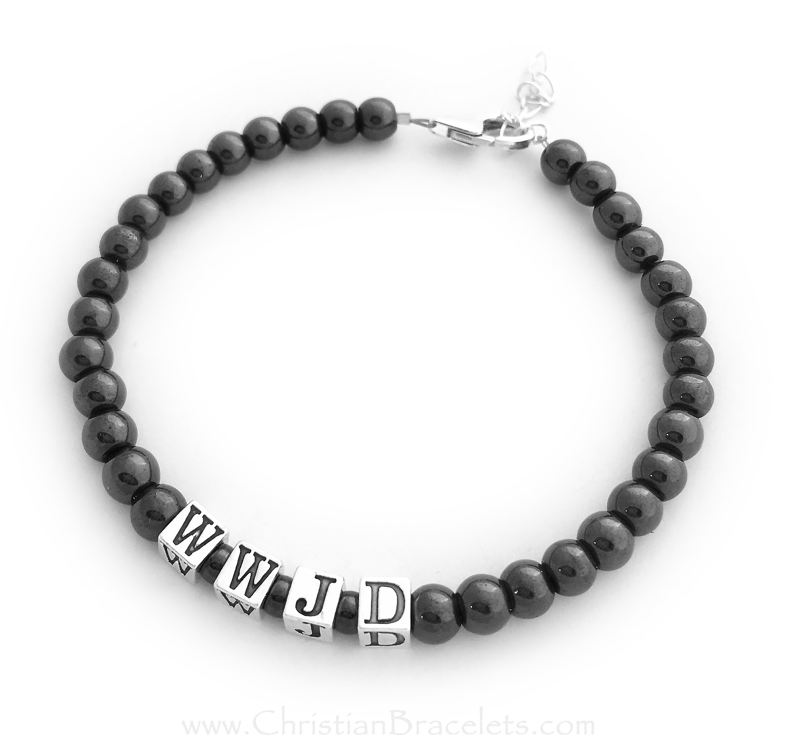 "Magnetic Hematite WWJD (What Would Jesus Do) Bracelet Size: 8 1/2"" shown with an upgraded Lobster with an Extension"