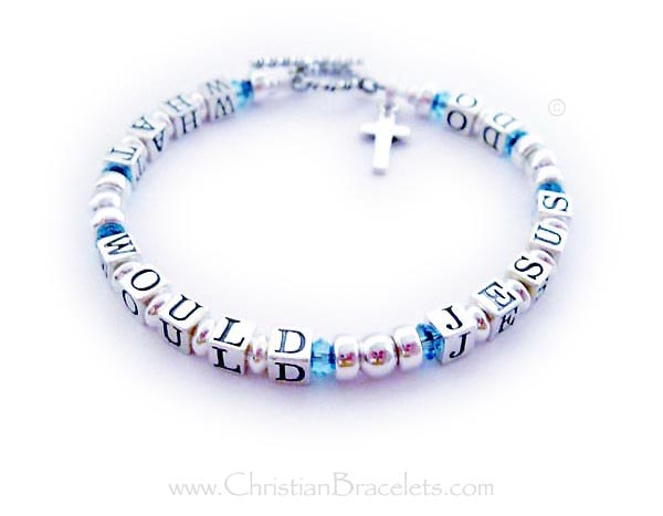 What Would Jesus Do ( WWJD ) with March Birthstone Crystals - CB-WWJD-6