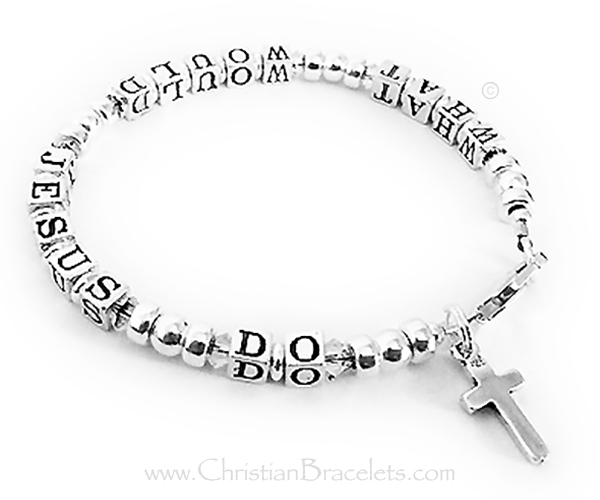 CB - WWJD6 - Sterling Silver (Shown with CLEAR (April) Crystals) - CB-WWJD-6