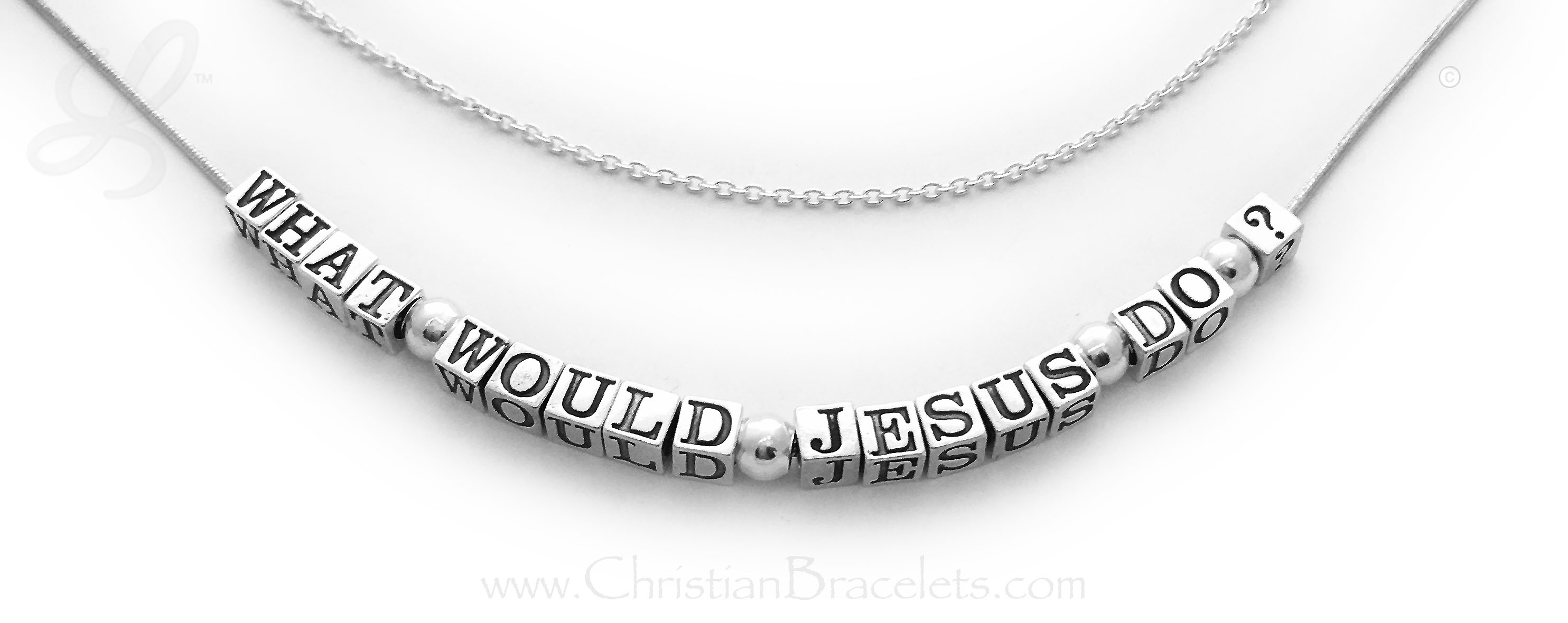 Sterling silver What Would Jesus Do? Necklace 17 characters / 5 spacers