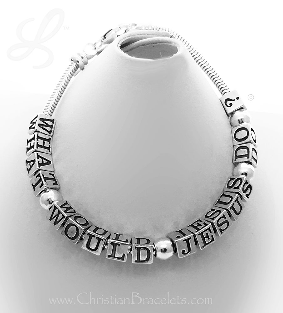 What Would Jesus Do? Bracelet shown with 17 letters and 4 spacer beads.