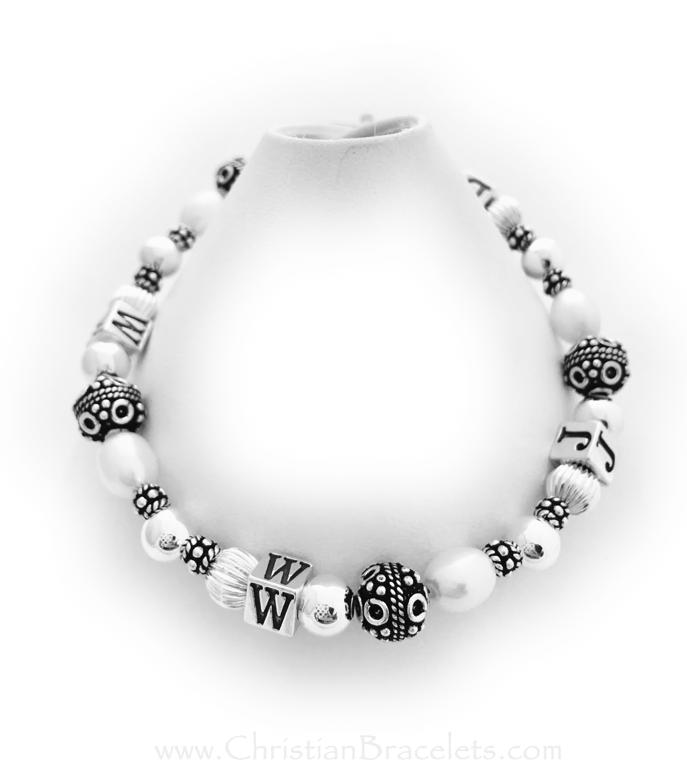 WWJD Sterling Silver  Bracelet with Swarovski Pearls and beautiful decorative Bali Beads. WWJD-1
