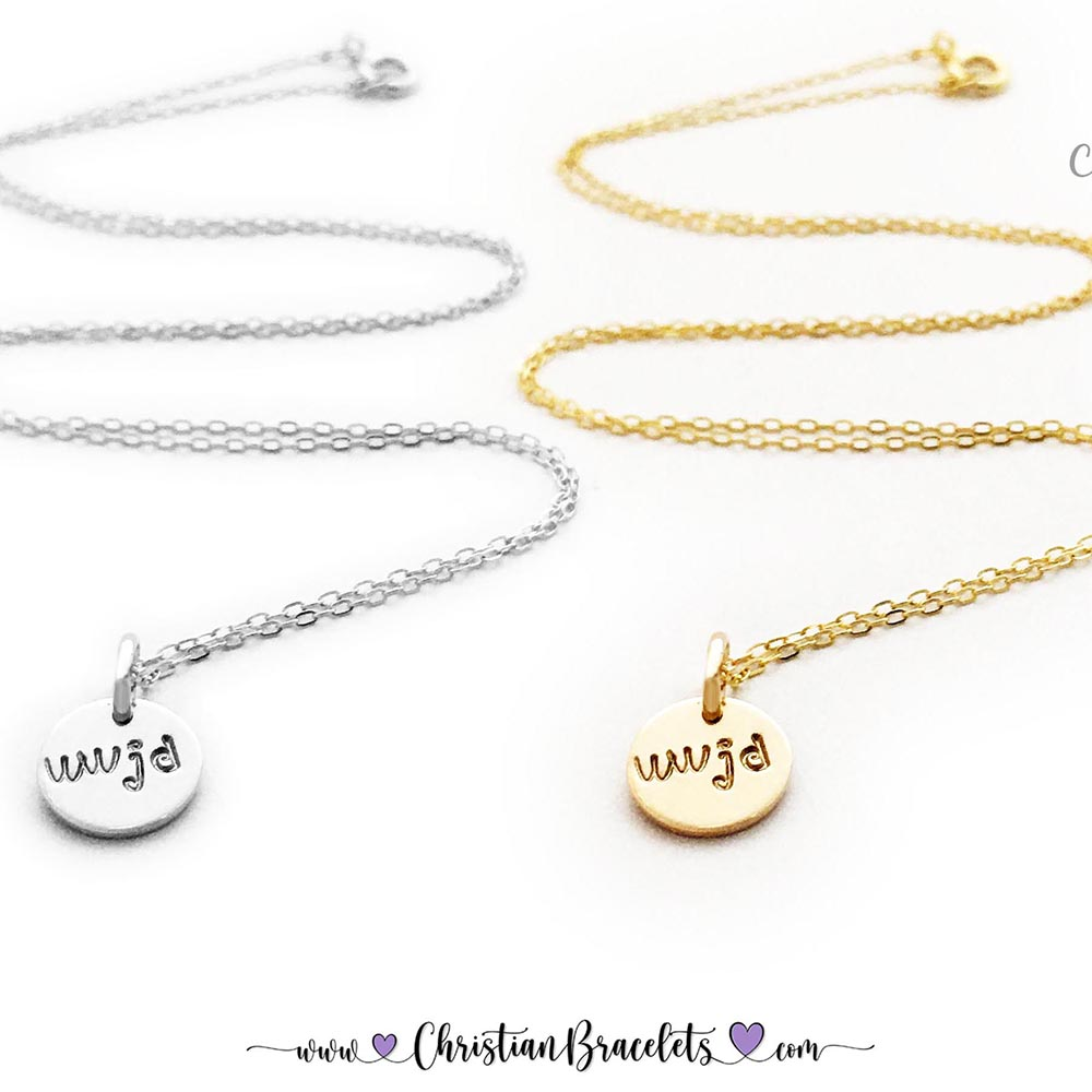 Gold WWJD Necklace with WWJD hand-stamped onto a 9mm gold or sterling silver disk