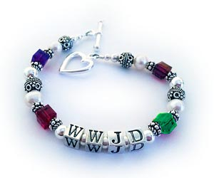 Colorful WWJD Bracelet - CB-WWJD-8 Shown with an upgraded Heart Toggle Clasp.