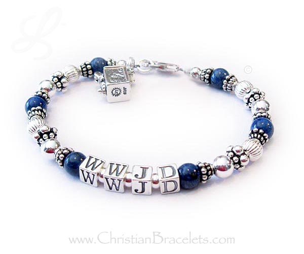Lapis Lazuli and Bali Silver WWJD Bracelet with charms - CB-WWJD-7