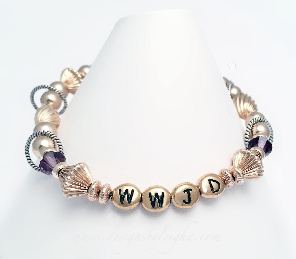 Gold WWJD Bracelet with Amethyst Birthstone Crystals.