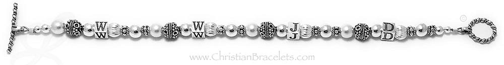 Pearl and Silver WWJD Bracelet