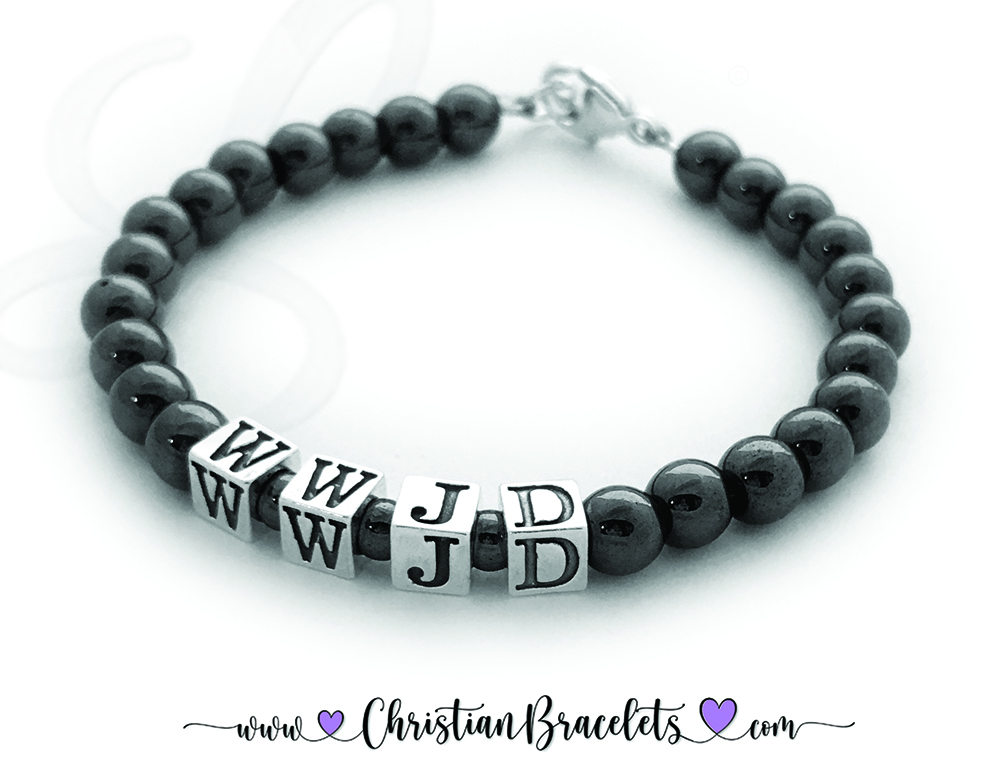 "CB- WWJD-3 Bracelet  Magnetic Hematite WWJD Bracelet with a Lobster Claw Clasp.  Size: 7 1/2"" 5.5mm Blocks with 6mm Hematite Beads"