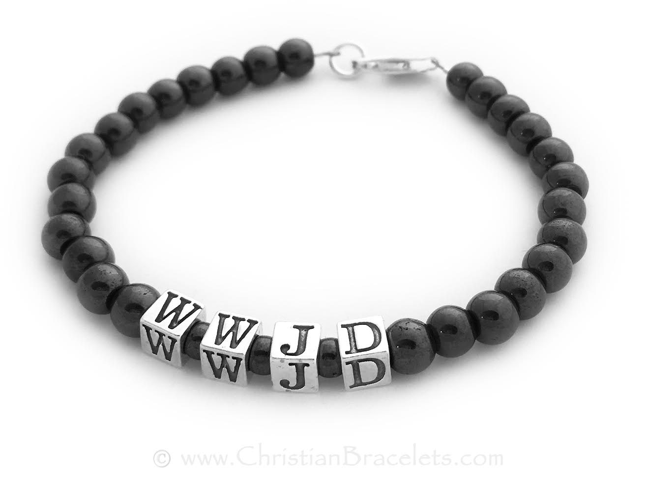 "CB- WWJD-3 Bracelet  Magnetic Hematite WWJD (What Would Jesus Do) Bracelet Size: 7 1/2"" shown with a free lobster claw clasp."