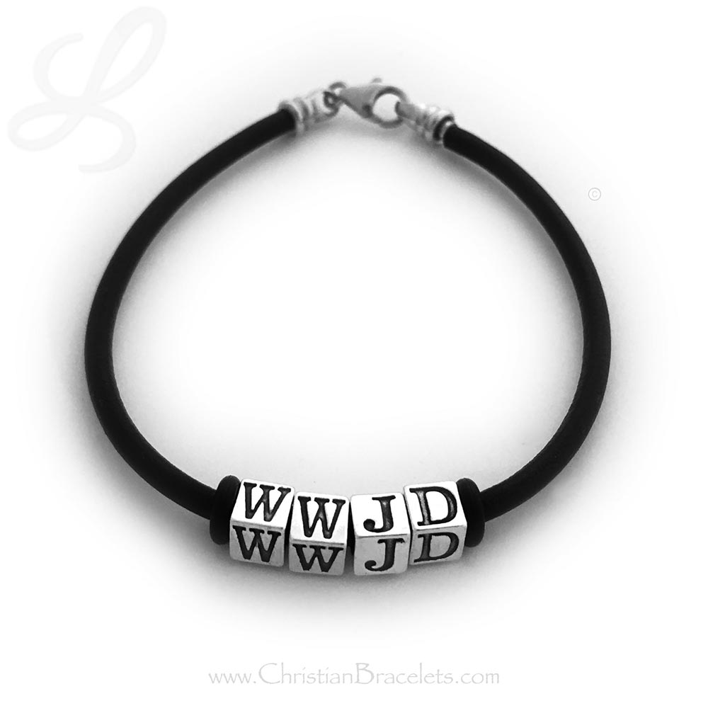 """CB- WWJD-4 Bracelet This is a black leather and sterling silver WWJD and it is shown with the free """"stoppers"""" and no spacers. This is an 7 1/2"""" bracelet."""