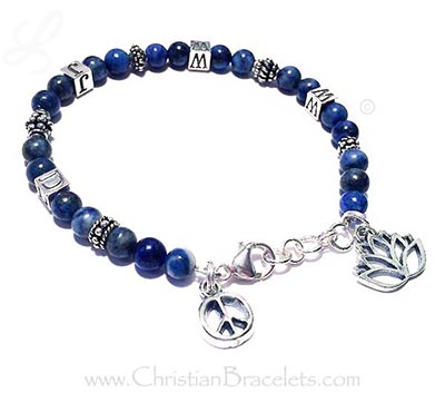 Lapis Lazuli and Bali WWJD  - What Would Jesus Do Bracelet shown with 2 add-on charms!