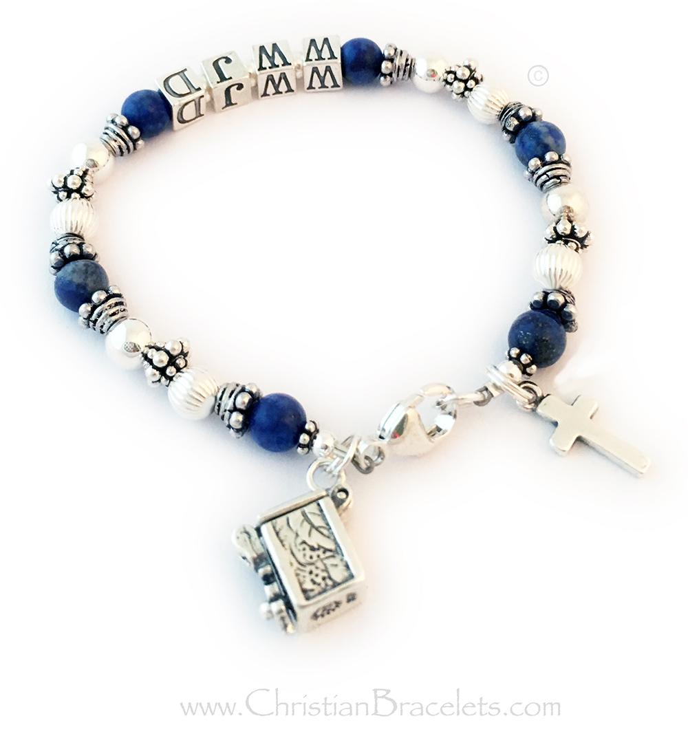 CB-WWJD-7  Lapis Lazuli What Would Jesus Do Bracelet - Shown with a lobster claw clasp, 5.5mm block letters. They added 2 charms to their order: Prayer Box Charm and a Simple Cross Charm. The Prayer Box Opens so you can slip a little prayer inside.