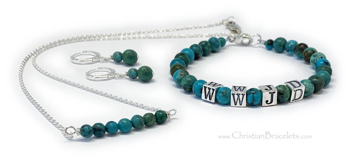 "CB-WWJD-12  This is a 6mm Turquoise WWJD Bracelet with 5.5mm alphabet block letters and is shown with a Lobster Claw Clasp. They added a 4mm Turqoise sterling silver necklace and earrings. Sizes: 7 1/4"" Bracelet, 17"" necklace, 1"" earrings"