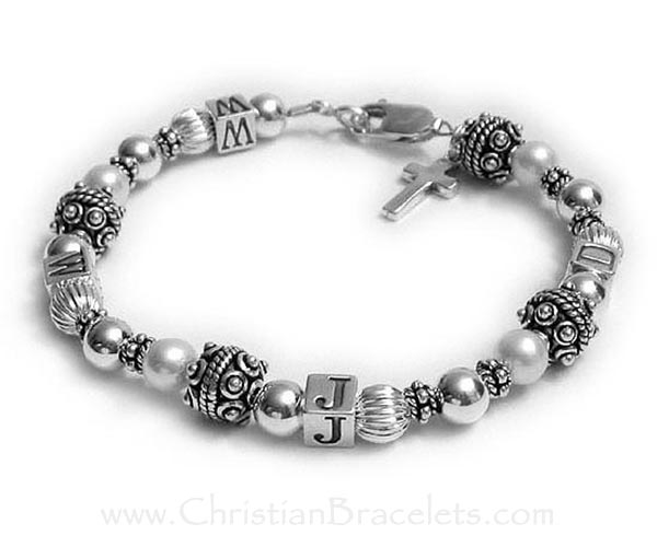 WWJD Bracelet shown with and add-on Sterling Silver Simple Cross Charm Clasp: Lobster Claw Clasp