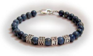 Lapis WWJD Bracelet - What Would Jesus Do Lapis Bracelets