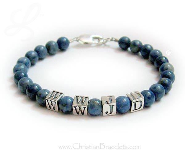 Lapis Lazuli What would Jesus do bracelet - wwjd bracelet made with Lapis Lazuli beads which range in color from denim to cobalt blue. The alphabet block letters are all sterling silver - WWJD-2
