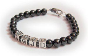 Hematite What Would Jesus Do Bracelet - WWJD bracelet with hematite beads
