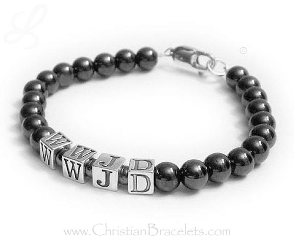 Hematite What would Jesus do bracelet - wwjd bracelet with black hematite beads. CB-WWJD-3
