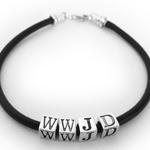 Leather What Would Jesus Do Bracelet with Sterling Silver Alphabet Block Letters