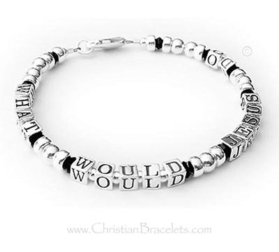 What Would Jesus Do Jewelry with Black Crystals - sterling silver - CB-WWJD-6